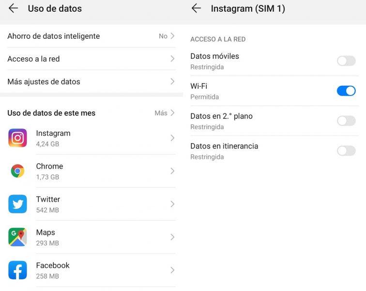 Ahorrar datos en Instagram