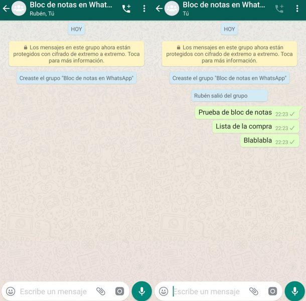 Bloc de notas en WhatsApp