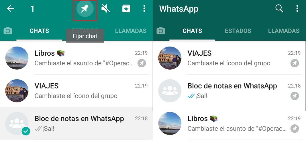 Bloc de notas en WhatsApp - Fijar