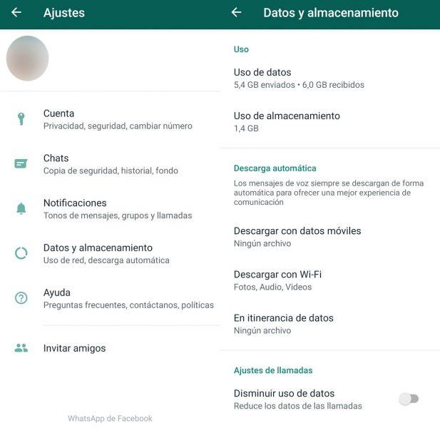 Borrar datos en WhatsApp