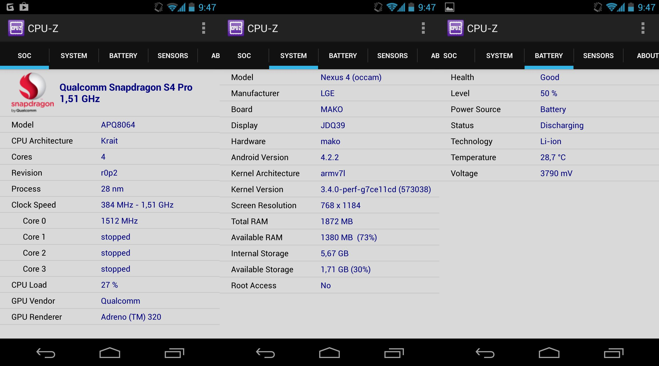 CPUZ Android screenshot