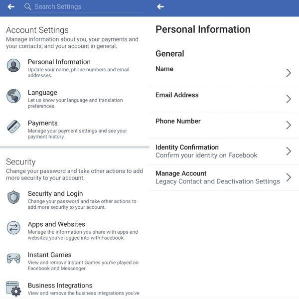 Desactivar cuenta en Facebook 2
