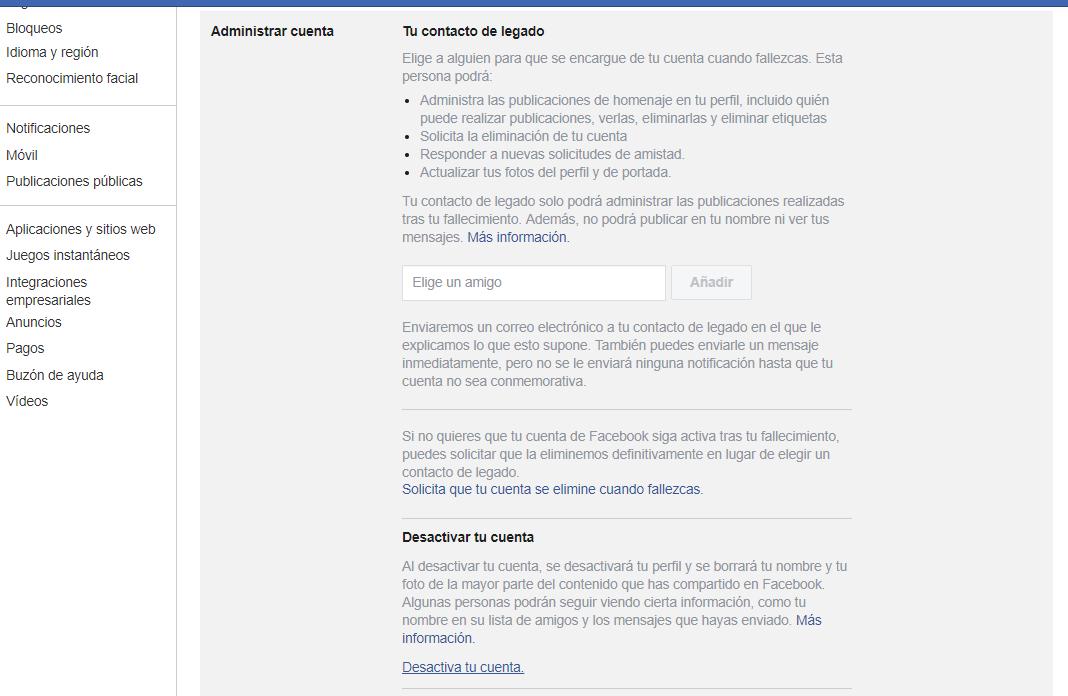 Desactivar cuenta en redes sociales - Facebook