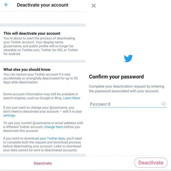 Desactivar cuentas en redes sociales - Twitter