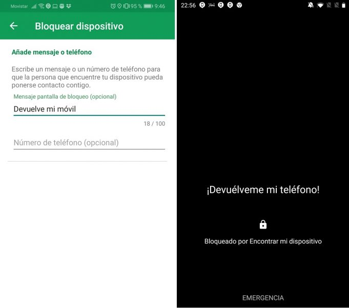 Smartphone perdido - Encontrar mi dispositivo