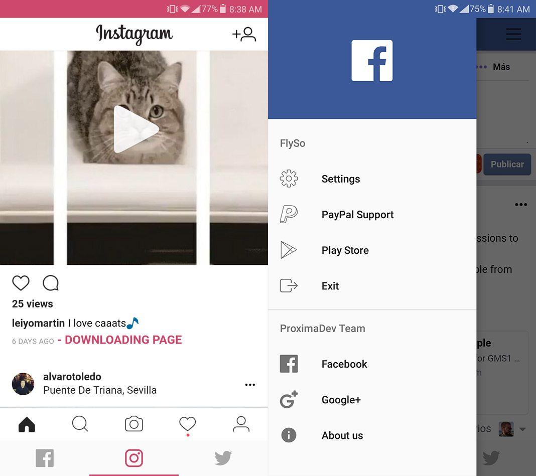 FlySo screenshot 1 FlySo: Facebook, Instagram y Twitter en una sola app con muchos extras