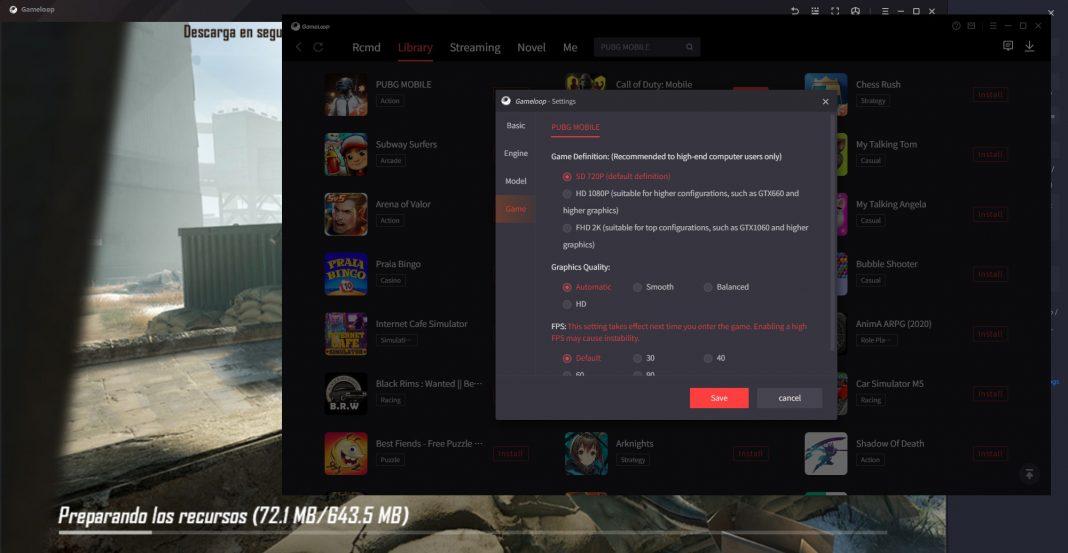 GAMELOOP OPCIONES GRAFICAS e1631168448524 Disfruta de tus juegos favoritos de Android desde tu PC con GameLoop