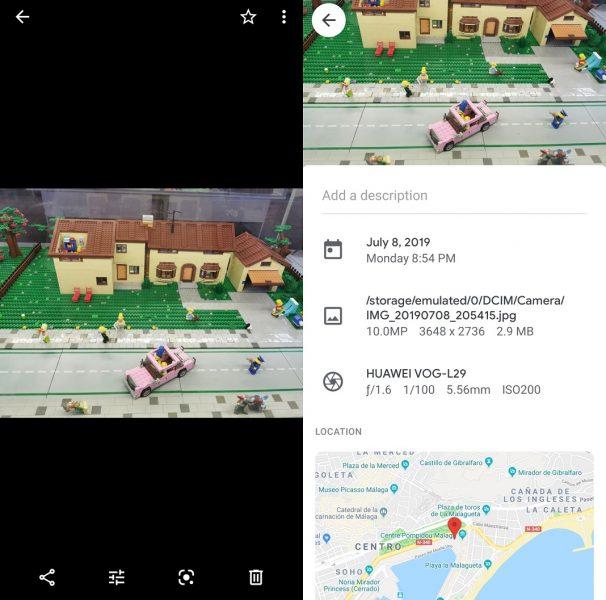 Información de imágenes en Google Fotos