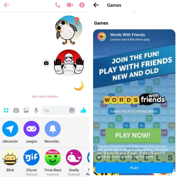 Jogos no Messenger