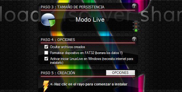 Linuxlive usb creator screenshot 2