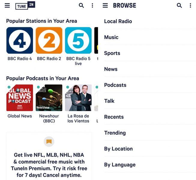 mejores apps para escuchar la radio - TuneIN