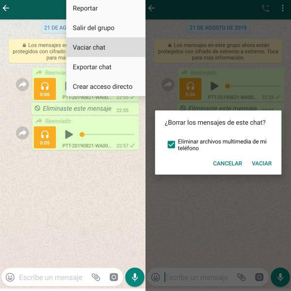 Vaciar chat en WhatsApp