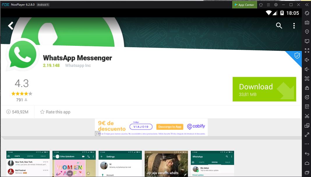 WhatsApp con Nox