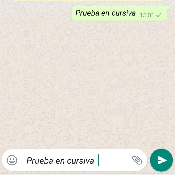 WhatsApp em itálico