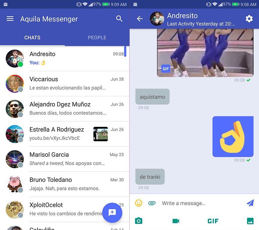aquila messenger screenshots Aquila Messenger convierte Twitter en una app de mensajería