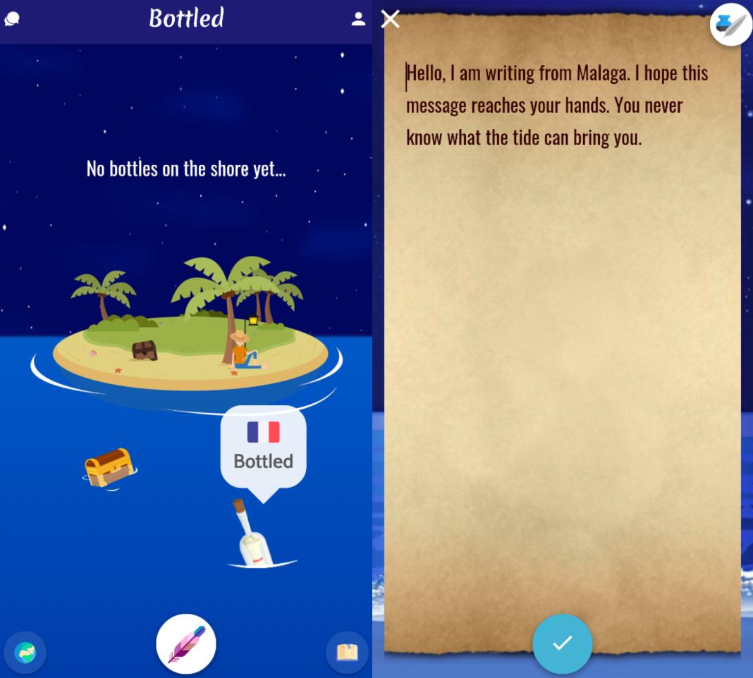bottled app 1 Envía y recibe mensajes en una botella con Bottled