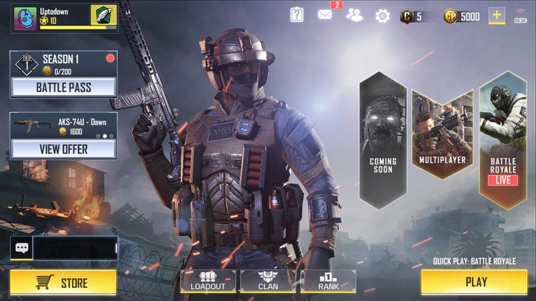 Call of Duty Mobile menú