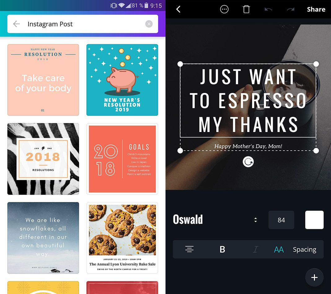 Canva screenshots Android app