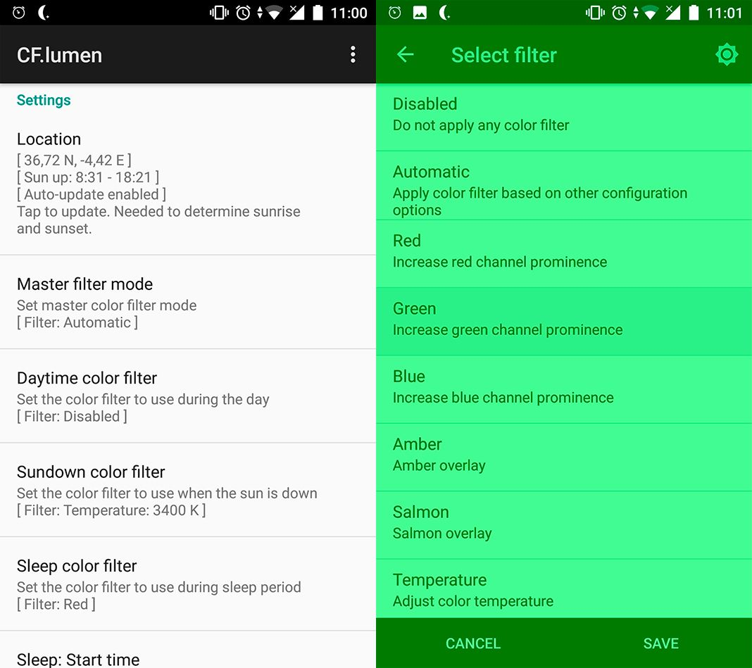 cf lumen screenshot Safeguard your vision with these ten light filter apps for Android