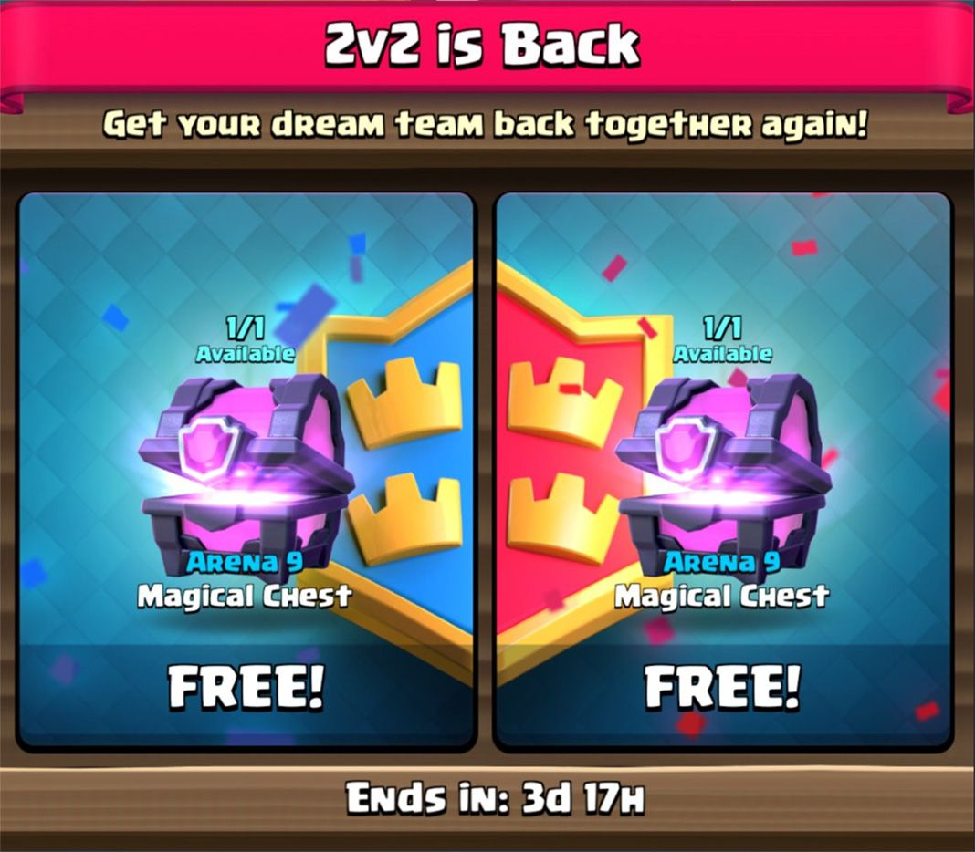 clash royale 2v2 en Clash Royale is giving away two Magic Chests and keeping the 2v2 mode for good