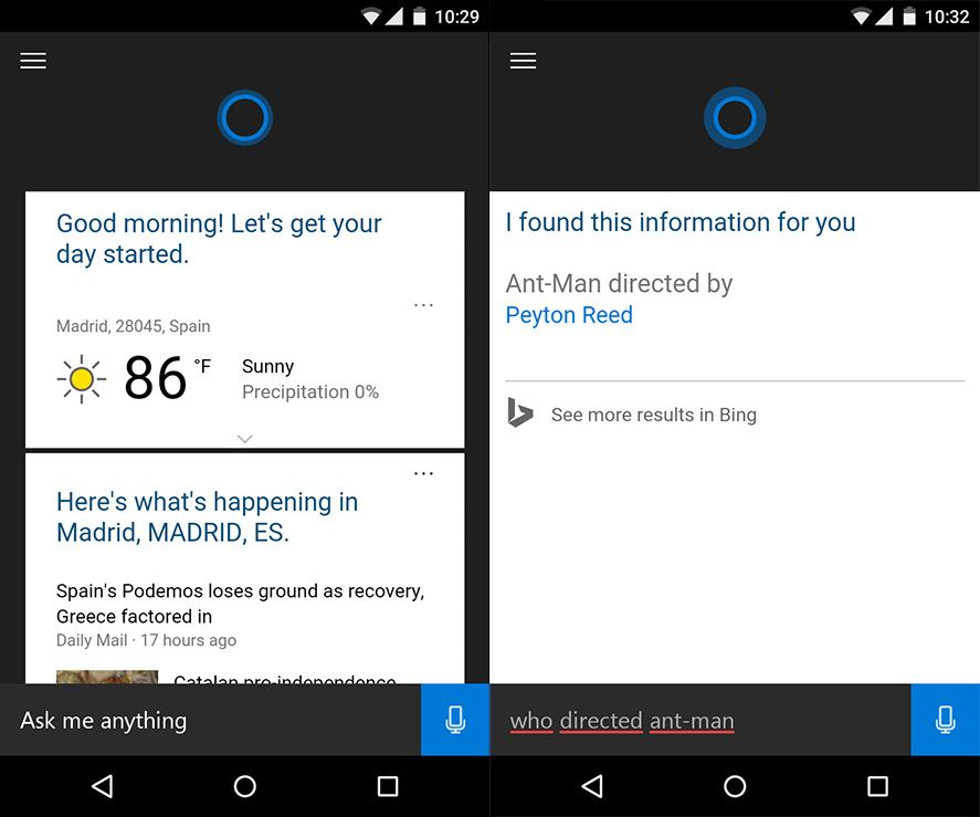 cortana screenshots 1 Microsoft's top apps for Android