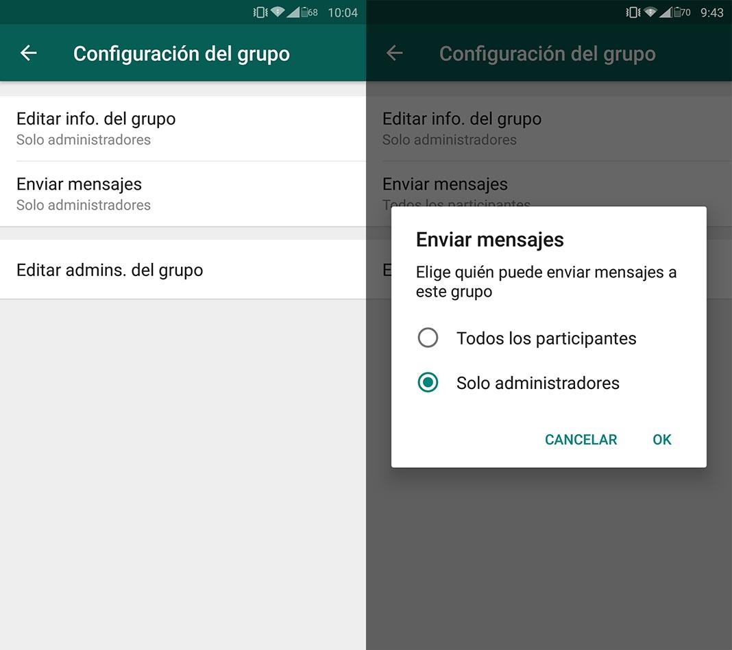 Cómo hacer que solo los administradores puedan mandar mensajes