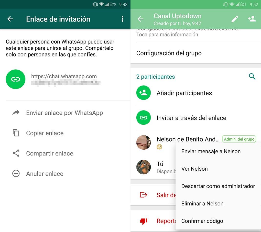 Como gestionar administradores en WhatsApp