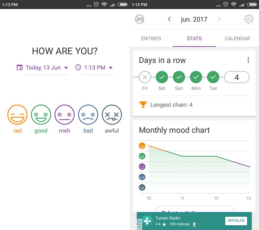 daylio screenshot 1 en Daylio is a diary to keep track of your mood
