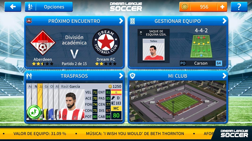 Dream League Soccer 2019 menu principal