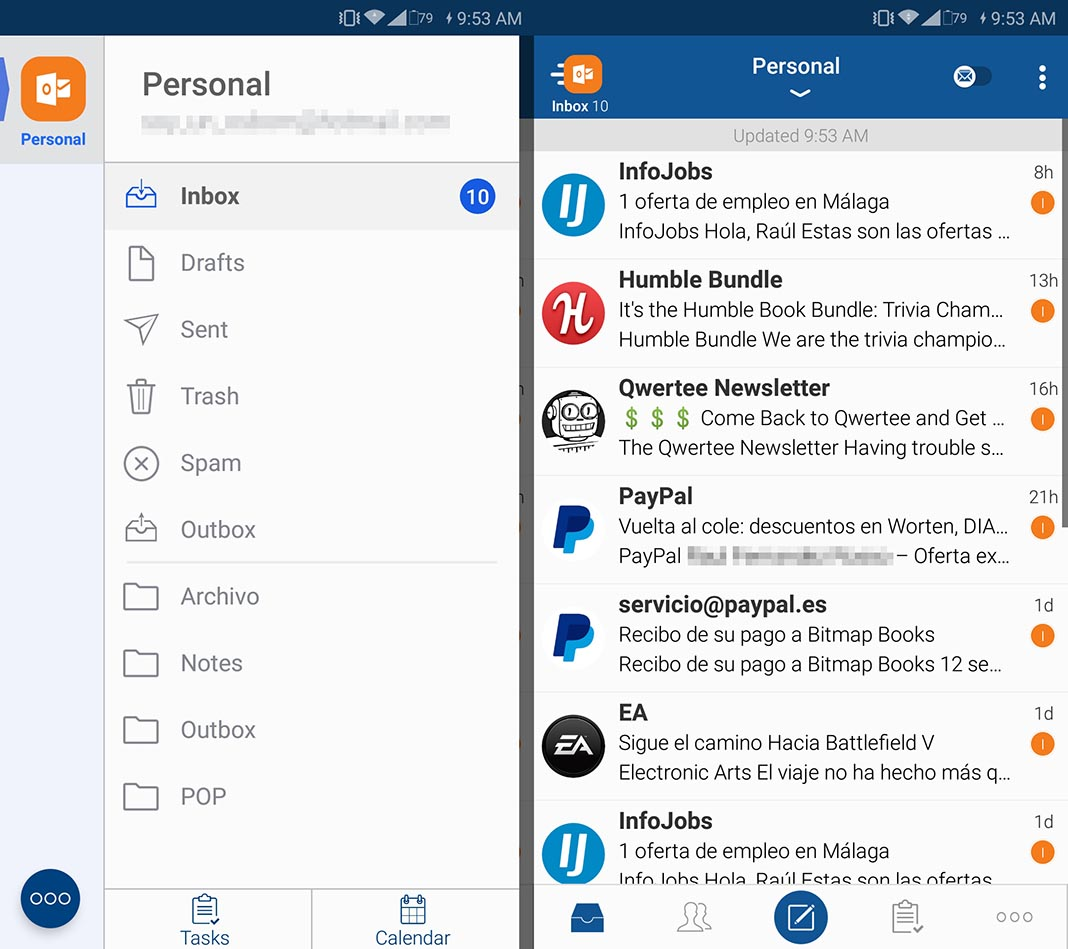 Blue Mail email app Android
