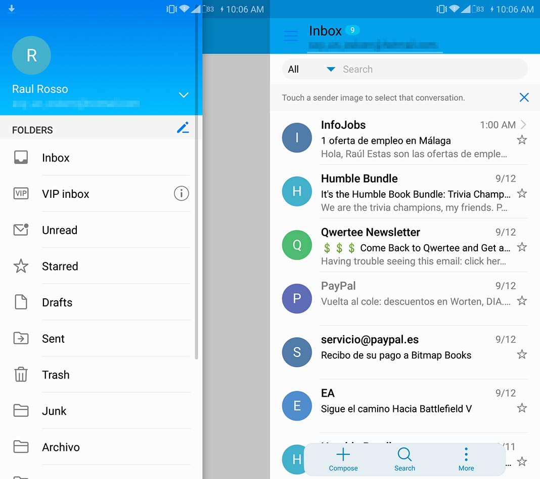 email correo screenshot Five alternative email clients for Android