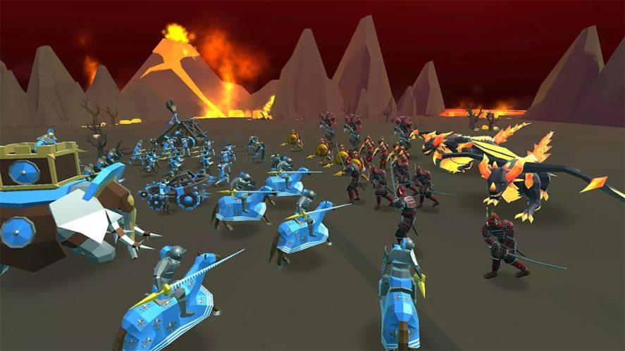 Epic Battle SImulator 2 captura de pantalla escenario de lava