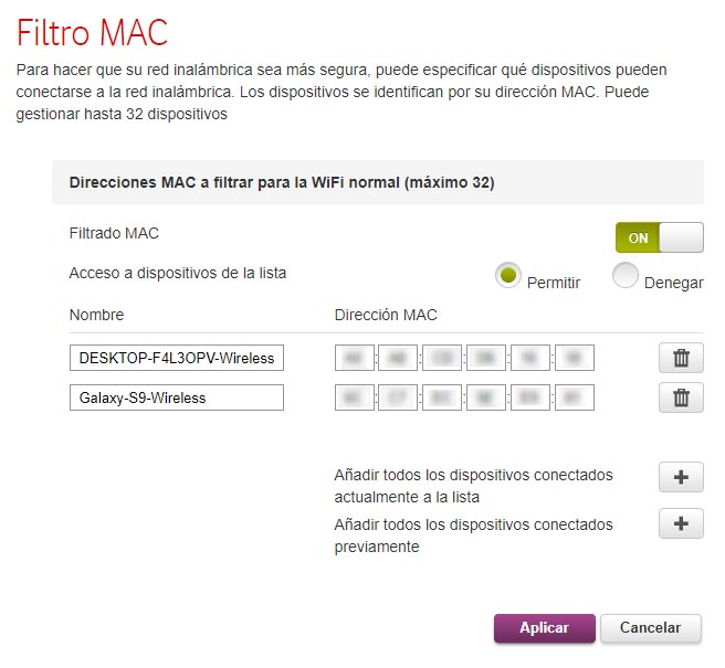 Vodafone Router Mac Filtro