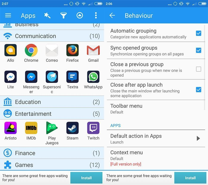 glextor screenshot en Glextor AppManager arranges your apps by theme