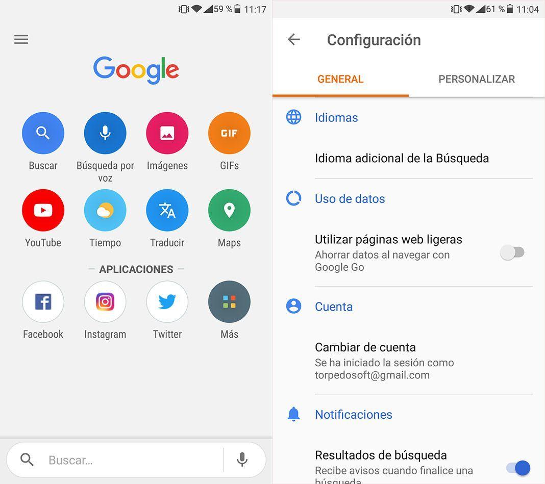 google go screenshot 1 Google lanza una app lite para Android de su propio buscador