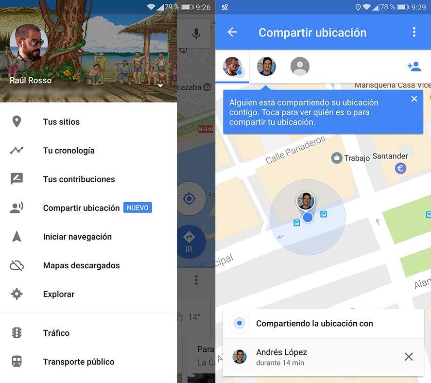 google maps ubicacion screenshots Cómo compartir nuestra ubicación en tiempo real con Google Maps