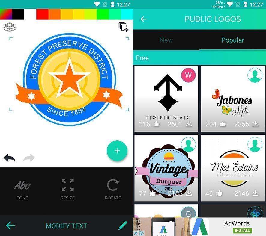 graphic design logo maker Diez apps Android de diseño gráfico