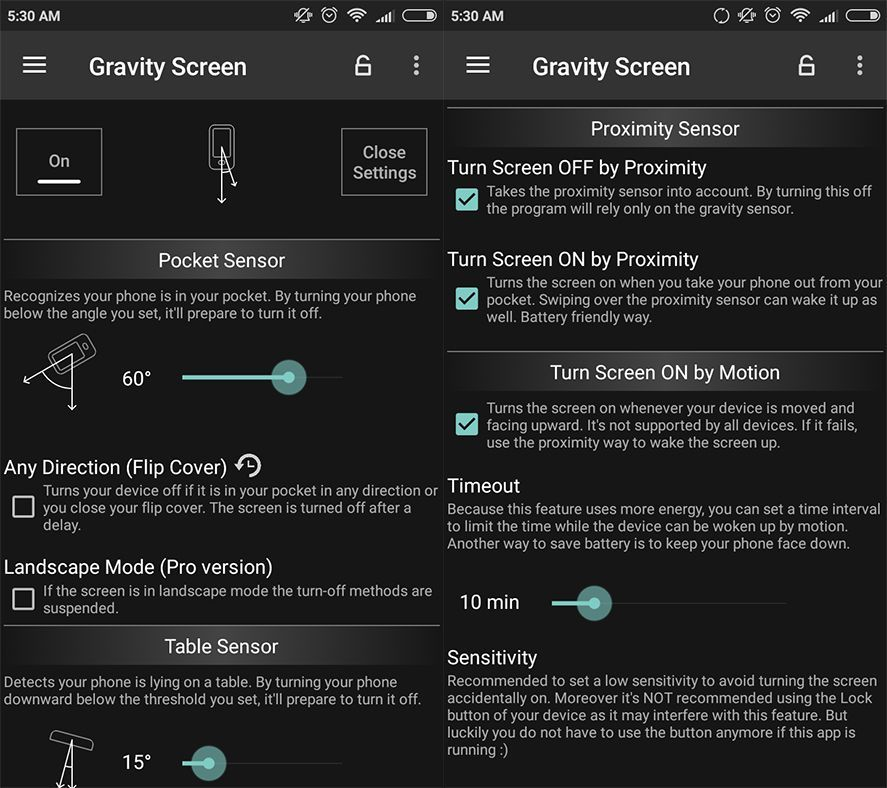 gravity screen screenshot en How to automatically lock or turn on your Android screen