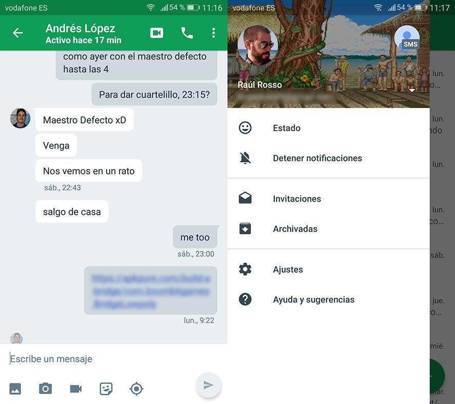 hangouts screenshots Mensajería de Google: ¿Cuál es la situación de Hangouts, Allo y Duo?