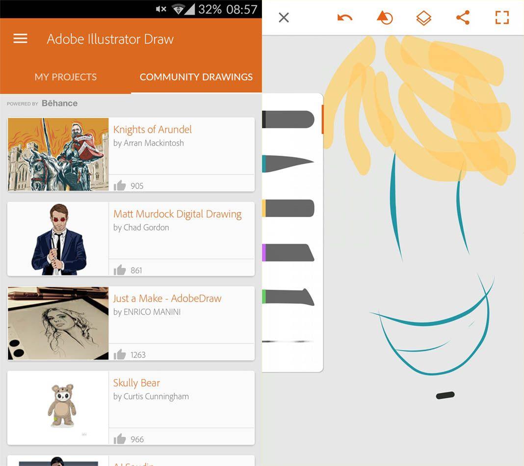 illustrator draw screenshot Diez apps Android de diseño gráfico