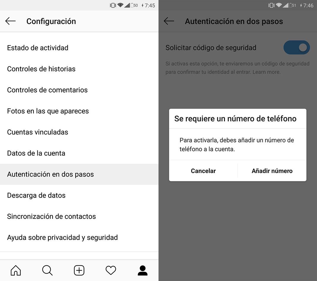 instagram autentificacion 1 Cómo activar la autentificación en dos pasos en Instagram