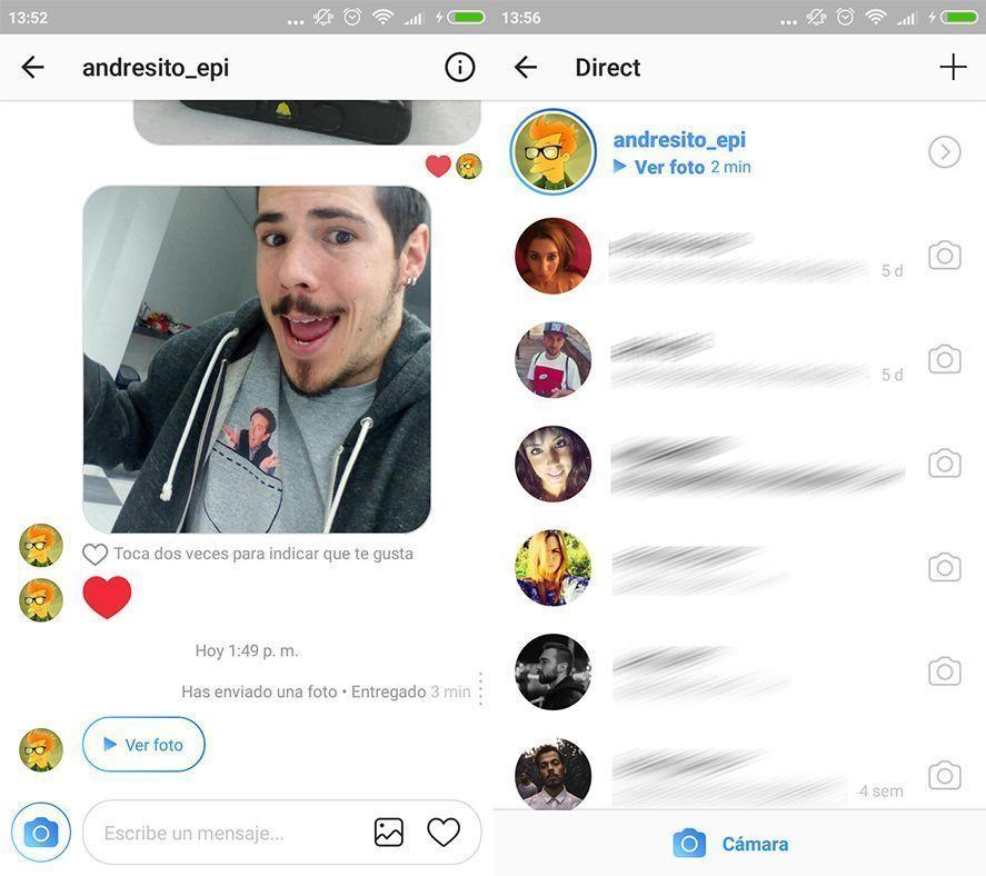 instagram direct screenshot Instagram mejora Direct y se parece a Snapchat más que nunca