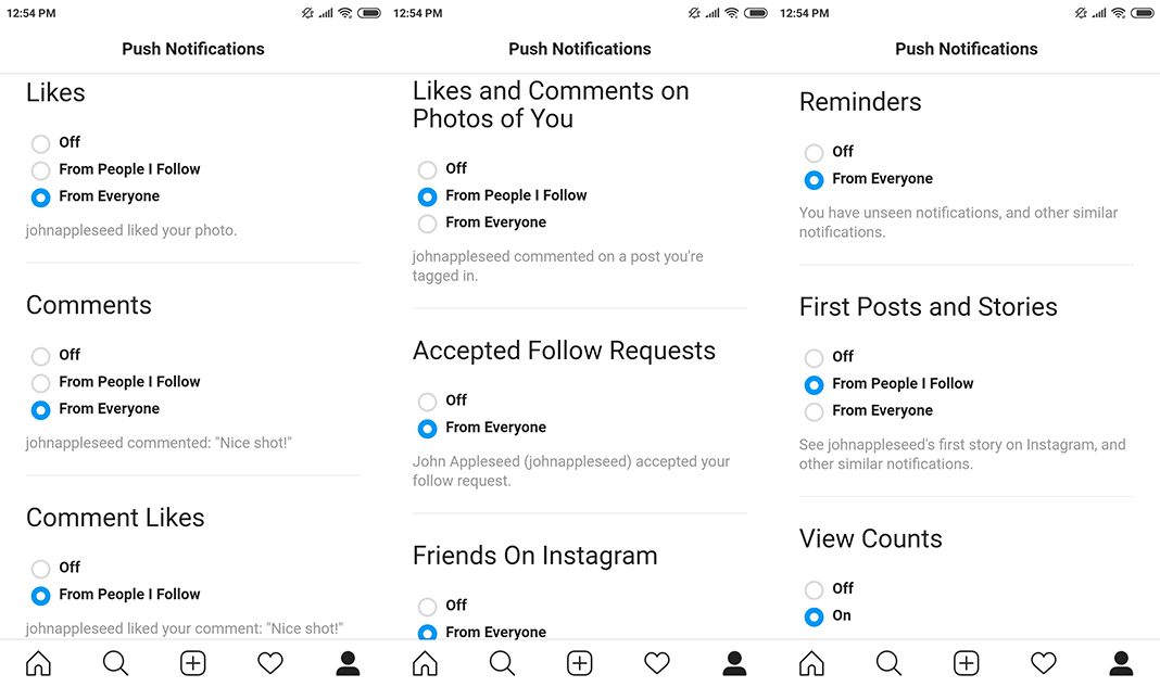 How to turn on push notifications in Instagram Lite