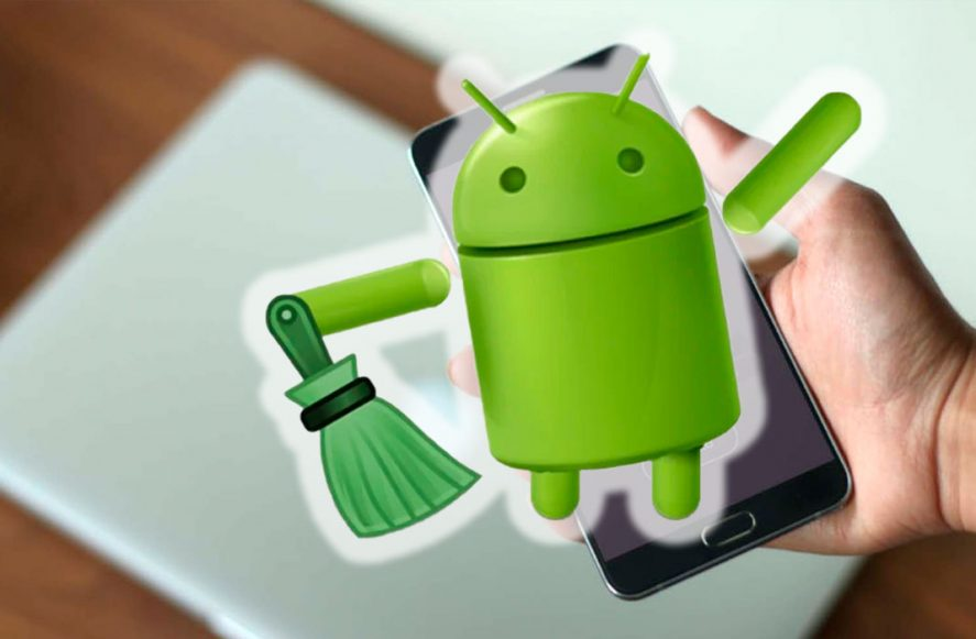 Droid icon on a smartphone