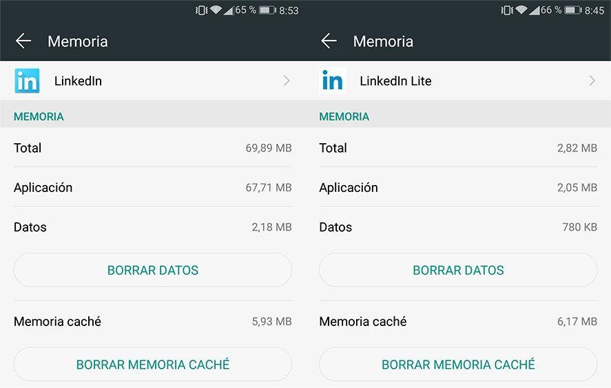 linkedin lite comparativa Linkedin lanza su versión lite para Android