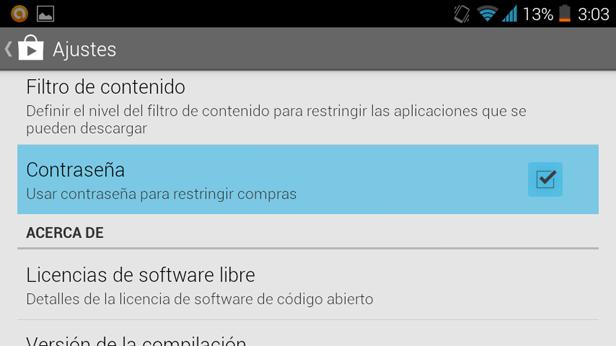 menu ajustes Evita compras accidentales protegiendo tu cuenta de Google Play Store con una contraseña