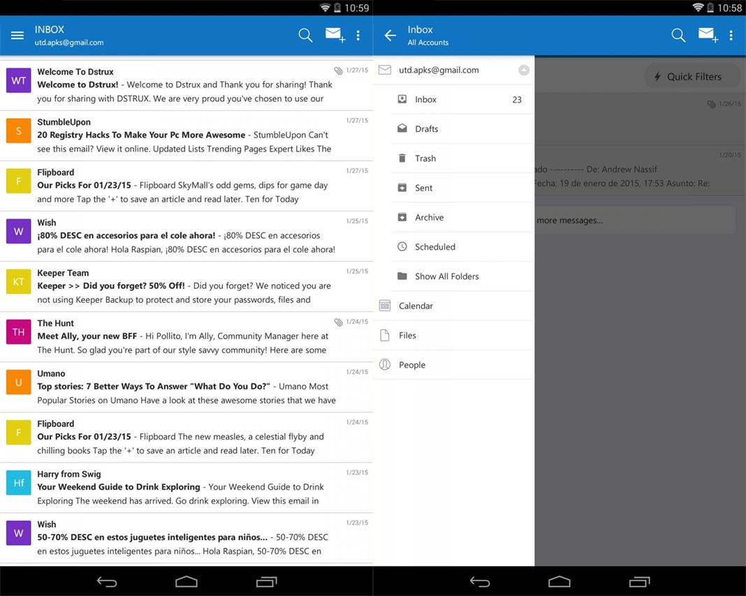 microsoft outlook screens Microsoft's top apps for Android