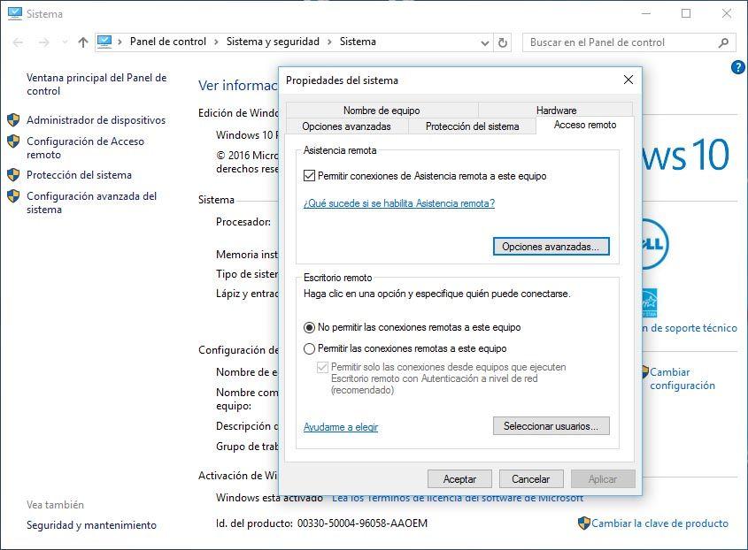 Escritorio remoto activar Windows 10