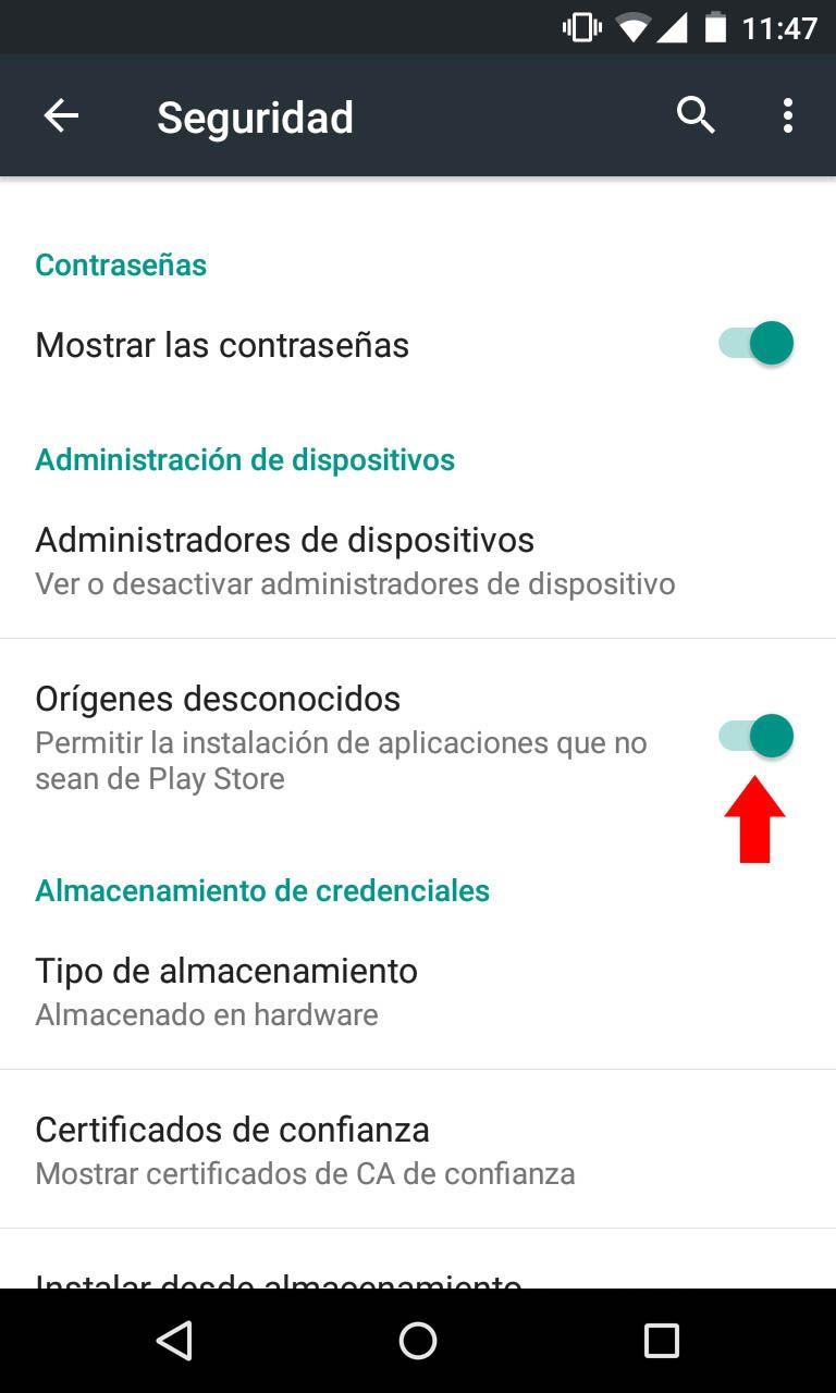 Cómo descargar apps desde orígenes desconocidos