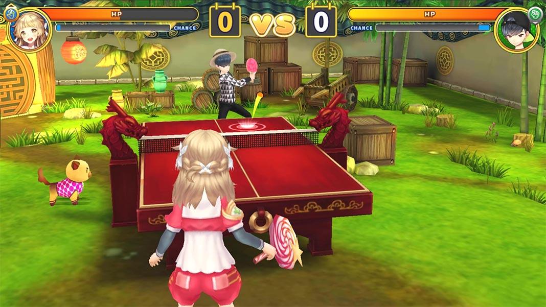 Ping Pong World Slam Partido en escenario oriental